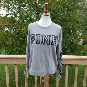 Pink Victoria's Secret Grey Campus Pullover